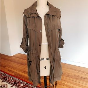 ZARA lightweight trench coat/duster Olive Green XS